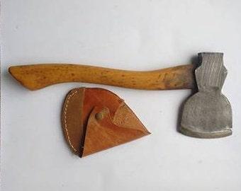 Restored vintage hand axe with sheath- like Elwell