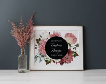 Custom Design Wedding Invitation Suite, Floral Watercolor Invitation, Elegant, Modern, Rustic, Classic Wedding Invite, Marsala Greenery Pink