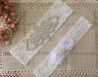 Wedding Garter Set, Bridal Garter, Lace Garter Set, Rhinestone Garter, White garter set, Keepsake Garter, Toss Garter. Non-slip garter