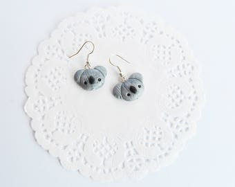 Koala earrings in polymer clay, kawaii, kawaii, animal earrings koala earrings