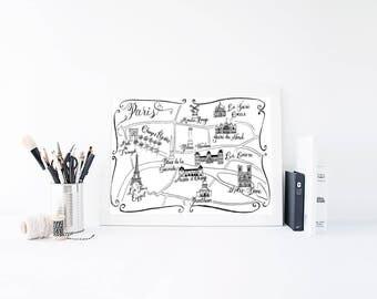 Paris Map - Paris Print - Art Print - Wall Art - Wall Decor - Home Decor - Bedroom Wall Art - Gift For Women - Girlfriend Gift - Anniversary
