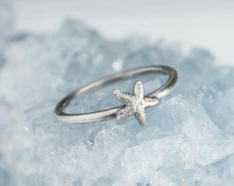 Sterling Silver Starfish Ring Solid .925 Ocean Beach Rings Custom Size