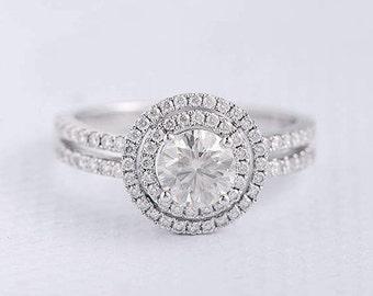 Forever One Engagement Ring Moissanite White Gold Ring Double Halo Split Shank Half Eternity Wedding Bridal Anniversary Promise Double Bars