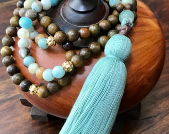 Aventurine and Amozonite Mala 108 Bead Necklace - Heart Chakra