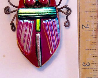 Beetle Pin, Fused Dichroic Glass