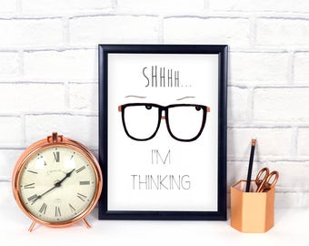 Funny Work Quotes - Art print - Nerdy Glasses - Office Prints - Digital Downloads - Work Quotes - Watercolors - Digital Art