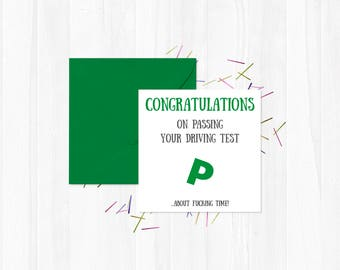 Congratulations - Greetings Card / Passing Driving Test / Funny / You Said it