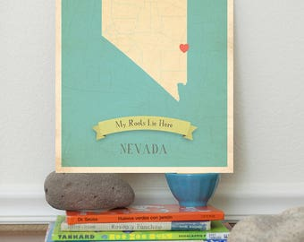 BOGO SALE Map Artwork, Map Art Print, Map Wall Decor, Map Poster, 11x14, Customized Print, Nevada Roots Map