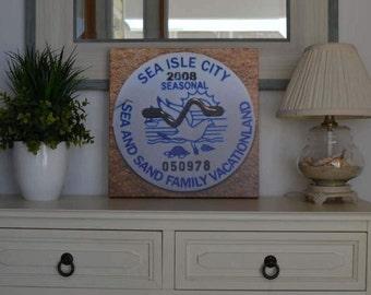 """2008 Canvas Print 14""""x14"""" Sea Isle City Beach Tag"""