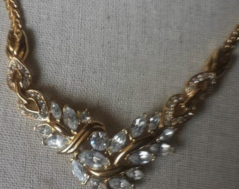 Trifari Necklace gold tone with Swarovski crystals - 44cm