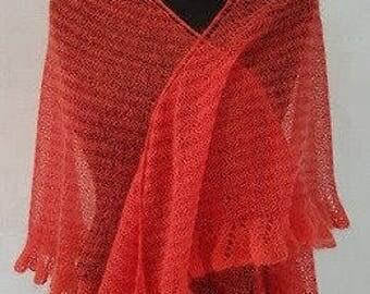 Red lace shawl, knit shawl, red shawl, kid mohair shawl, wool shawl, summer shawl, linen shawl, silk shawl, red wrap, summer wrap