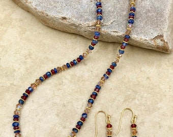 Sure and Strong - gemstone and crystal necklace and earring set