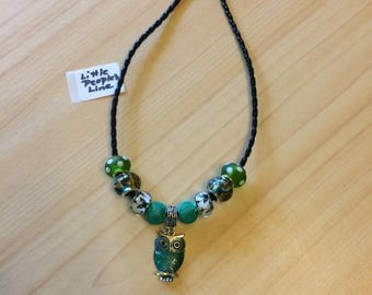 """14"""" Imitation Braided Leather Necklace with Wise Ole Owl Pendant - New"""