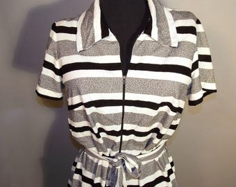 70s Union Made Black White Zip Terry Dress Stripes Resort Beach Summer Tennis Belt Collar Retro Plus Size 14 Colorblock Short Sleeve Midi