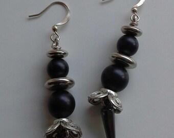 Black and silver beaded long drop earrings