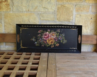 Vintage Black and Floral Hand Painted Metal Serving Tray