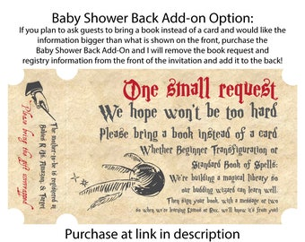 Harry Potter Baby Shower Invitation Back Add-on Option, (Printable)