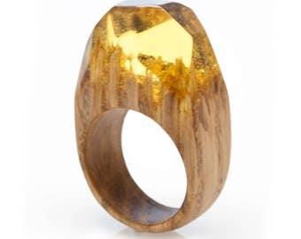 """Ring Oak Wood and Resin """"Solar Field"""". Resin Jewelry. Natural Wood Jewelry. Gift For Her. Unique gift. Handmade Wood Ring. Resin ring."""