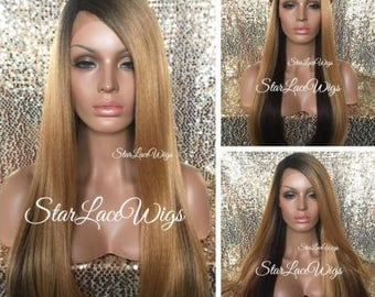 Long Light Yaki Straight Lace Front Wig - Blonde Brown Auburn - Side Part - Heat Resistant Safe