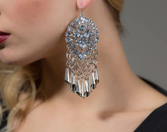 SILVIA Silver Rhinestone Earrings