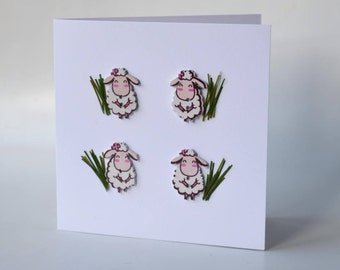 Sheep wooden button greeting card with envelope 5x5