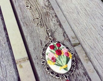 Embroidery Necklace, Embroidered Flower Jewelry, Long Pendant Necklace, Flower Jewelry , Flower Embroidery Necklace, Embroidery Flowers