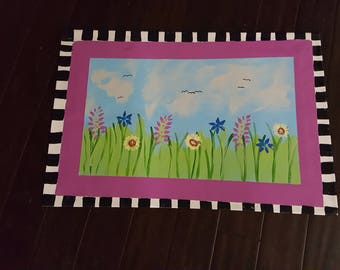 Idyllic Spring Meadow Landscape Floor Cloth/Mat