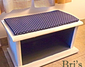 Blue and Antique White Up-Cycled Bench