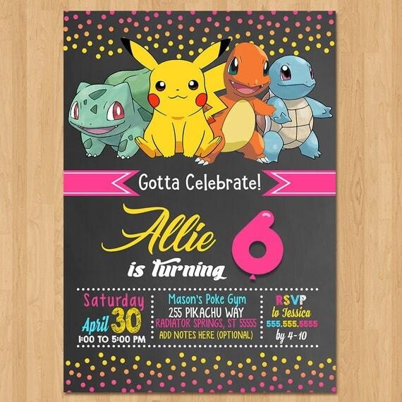 Pokemon Invite - Chalkboard Pink, Yellow & Blue - Girl Pokemon Birthday Party Invite - Pokemon Party Favor - Chalk Invite - Pikachu Birthday