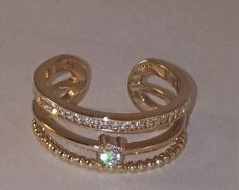 Triple Band Crystal midi ring