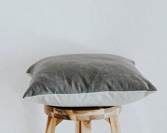 "Dark and Light Gray Color Blocked Linen Pillow Cover Square ""Helene"" 16x16"
