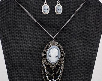 Victorian Silhouette necklace and earring set
