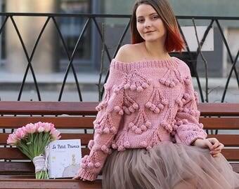 Women sweater pink womens|gift handmade sweater chunky|sweater spring knitwear boho loose shoulder wear spring knit fashion cherry decor