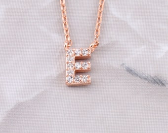 Pave Initial Letter Necklace | Initials | Personalized | Custom | Pave | Rhinestones | Layer | Stackable