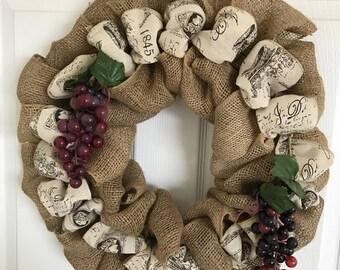 Free Shipping! Vineyard Inspired Burlap Wreath
