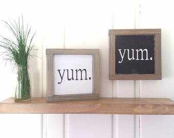 Yum Wood Sign Small Framed Wooden Kitchen Modern Farmhouse Word Art Fixer Upper Style