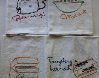 """Embroidered Tea Towels - Hand Embroidered Tea Towels - Set of 4 - """"Mix It Up"""""""
