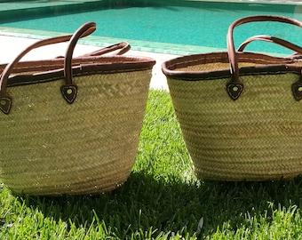 set of two shoulder straw bags ,straw basket,french basket,beach bag,french market bag,moroccan baskets,natural bag,moroccan handmade bag.