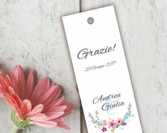 Placeholder wedding. Bookmark thank you wedding. Placeholder floral with green Mint notes, with or without Ribbon.