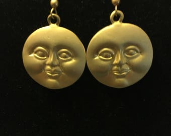 80s vintage gold tone face earrings