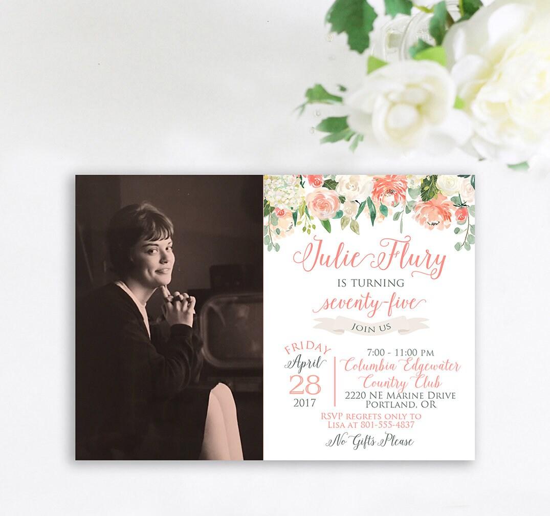 75th Birthday Party Invitation Grandma Birthday Invitation – 75th Birthday Party Invitations