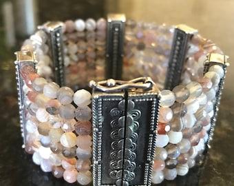 Faceted Moonstone & Bali Sterling Silver Bracelet