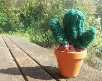 Knitted Cactus hand with its pot terracotta