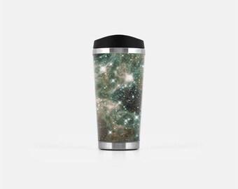 Galaxy Travel Mug, Galaxy Mug, Coffee Travel Mug, Brown Travel Tumbler, Space Mug, Stainless Steel Mug, To Go Coffee Cup, 16 oz