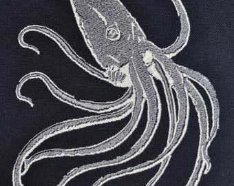 Embroidered Glow-in-the-Dark Squid Patch (large)