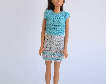 A set of clothes for Barbie, clothes doll set blue Barbie, Barbie skirt, Barbie, fashion doll, Barbie fashion