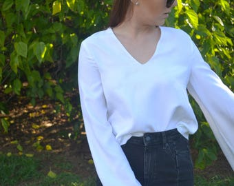 White Linen Bell Sleeve Blouse