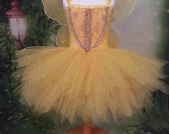 Yellow tutu dress, fairy tutu, Princess dress, girls party dress, woodland fairy, flowergirl dress, Ballerina dress