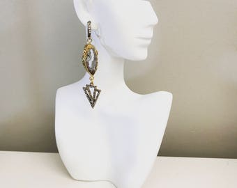 Natural  geode slice agate drop earrings with rhinestone details
