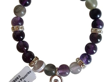 8mm Flourite And Amethyst Stone Strecth Bracelet With Goddess Charm And Crystal Accents